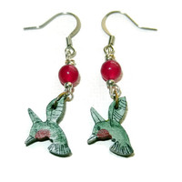 Light Green and Magenta Wood Hummingbird Earrings, Sterling Silver