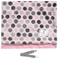 """Baby Laundry 91327 Soft Minky Pink Dot & Swirl Baby Blanket 36""""x30"""" with Pacifier Clip"""