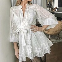 Lace White Party Dress Women Bow Tie Ruffles Vintage Dresses Embroidery Lantern Ladies Short Dress Vestidos