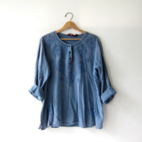 vintage blue top. India shirt. button up henley. Embroidered pullover.