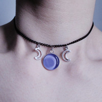 pastel goth moon choker, gothic necklace, grunge choker
