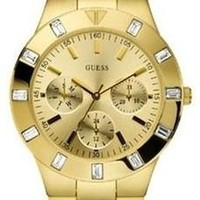 GUESS Women's U11058L1 Feminine Hi-Shine Mid-Size Gold-Tone Sport Watch