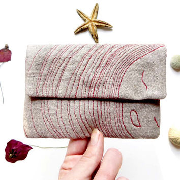 Linen Embroidered clutch purse, designer clutch, daily clutch bag, gift for her, casual clutch, purse for her, small linen wedding cluch