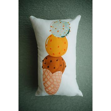 Chocolate Ice Cream | 3 Scoop cone | 12x16 | Vintage Decor | Fun Gifts | Pillow Cover | Home Decor | Throw Pillows | Happy Birthday