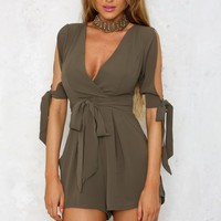 When Doves Cry Playsuit Khaki