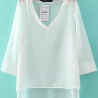 White V-Neckline Long Sleeve Dip Hem Blouse