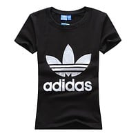 Trendsetter Adidas Woman Fashion Print Short Sleeve Scoop Neck Cotton Tunic Shirt Top Blouse
