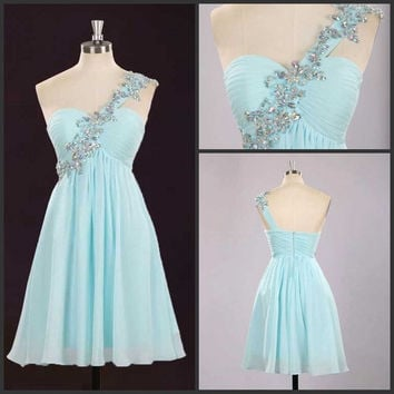 Sky Blue Short Mini Dress Homecoming Dress One-Shoulder Prom Dress With Beaded Graduation Dresses Custom Made Homecoming Dresses Prom Gown = 1956839364