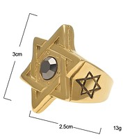 Star of David Ring Mens Gold Plated Stone Ring
