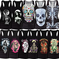 Clothing new 2015 women t-shirt black vest tops 3D print ribs skull bone camisole knitted polyester horror Sexy Tank top SMV018