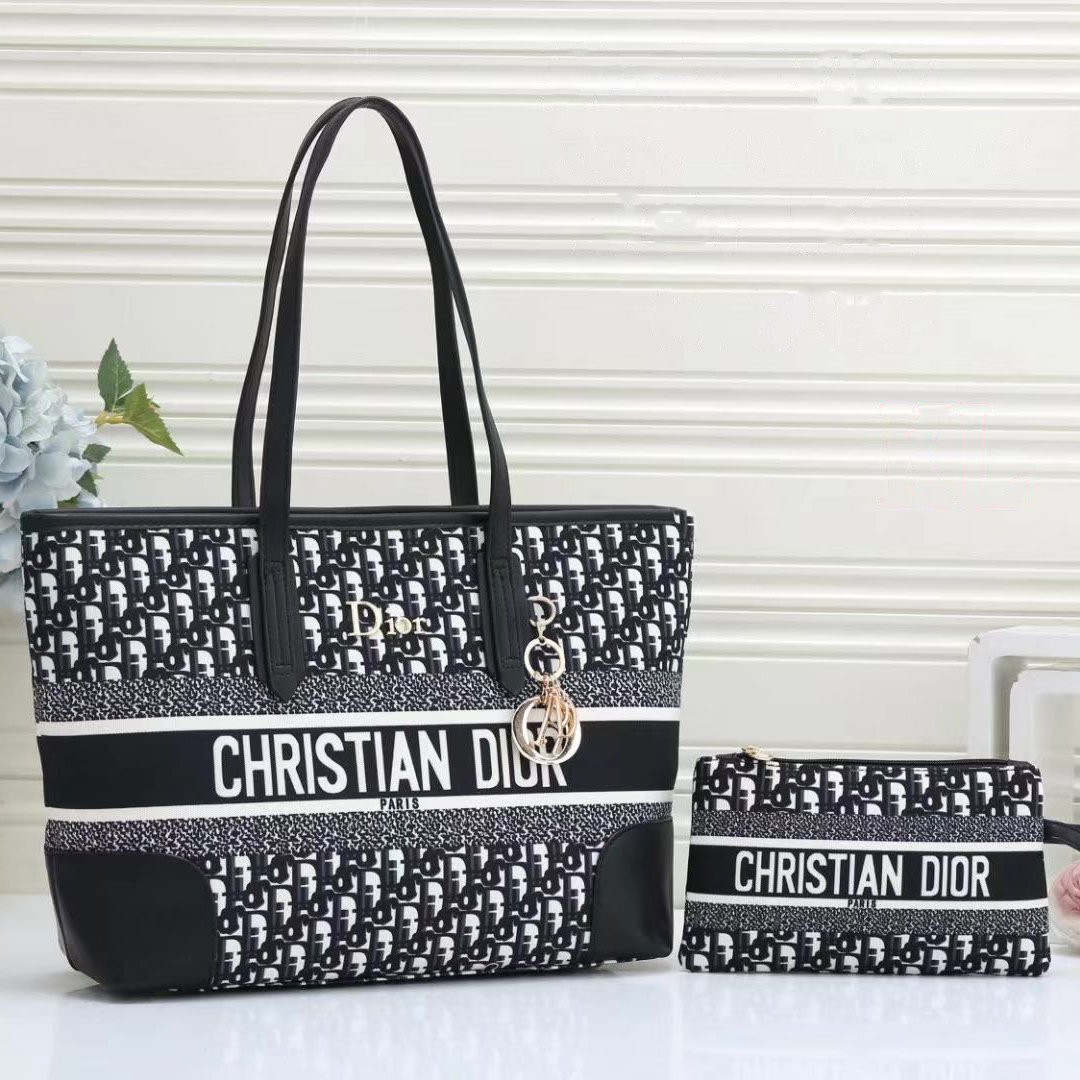Image of Christian Dior Canvas Embroidered Letters Women's Shopping Shoulder Bag Two-piece Crossbody Bag Wallet
