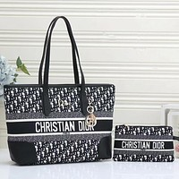 Christian Dior Canvas Embroidered Letters Women's Shopping Shoulder Bag Two-piece Crossbody Bag Wallet