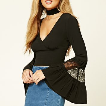Lace Bell-Sleeve Crop Top