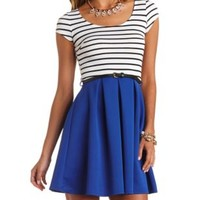 Stripes & Solids Belted Skater Dress by Charlotte Russe - Blue Combo