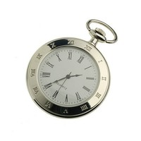 ESS Mens Stainless Steel Case White Dial Roman Numerals Modern Pocket Watch with Chain WP018