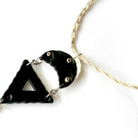 Black, polymer clay necklace, Hecate inspired necklace, moon goddess, goddess of the crossroads, minimalist necklace, geometric jewelry