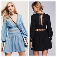 2017 Spring New Fashion Long Sleeve Hollow Out Dress [10454347471]