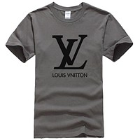 LV Louis Vuitton Women Men Fashion Casual Sports Shirt Top Tee Grey