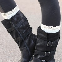 Charlie Three Buckle Suede Wash Mid-Calf Boots (Black)