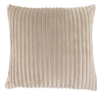 "Pillow - 18""X 18"" / Beige Ultra Soft Ribbed Style / 1Pc"