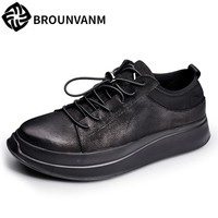 17 autumn new thick bottom shoes black men shoes nubuck leather shoes really leather casual shoes men.