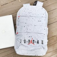 Jordon fashionable backpacks for men and women hot sellers of splash ink lightweight backpacks White
