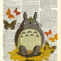 Totoro In The Garden Collage Studio Ghibli Print on an Antique Upcycled Bookpage