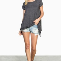 ShopSosie Style : Off Duty Tee in Charcoal