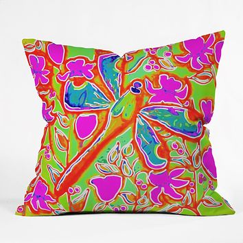 Renie Britenbucher Dragonfly And Flowers In Pink And Green Outdoor Throw Pillow