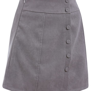 Single Breasted A-Line Grey Skirt