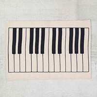 Assembly Home Piano Key Printed Rug- Black & White 2X3