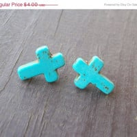 ON SALE Blue howlite cross earring studs.