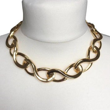 Chunky 80's Necklace | 1980's Gold Tone Metal | Large Loops Chain Necklace | Vintage Costume Jewellery