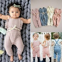 Baby Striped Ruffle Romper Overalls Jumpsuit
