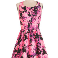ModCloth Short Sleeveless A-line Bright There With You Dress