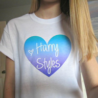One Direction 1D Purple/Blue/Turquoise Ombre Heart T-Shirt in White Size Adult S, M, L, or XL (Option of Harry, Niall, Liam, Zayn, or Louis)