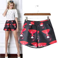 Stylish High Rise Dolls Print Pants Women's Fashion Skirt [5013393156]