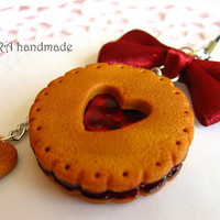 Kawaii cute handmade polymer clay gingerbread cookie cherry jam bowknot cell phone strap charm