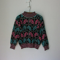 Vintage 80s Sweater // Paisley Pattern by sparvintheieletree
