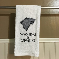 """Game of Thrones inspired decorative embroidered hand towel """"Washing is Coming"""""""