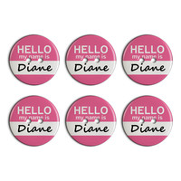 Diane Hello My Name Is Plastic Resin Button Set of 6