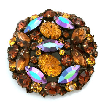Kramer of New York Brooch, Gold Molded Oval Stones, Mink Brown Rounds, Blue Aurora Borealis Marquise, Round Brooch
