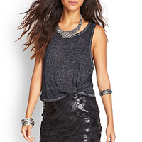 FOREVER 21 Floral Lace Faux Leather Skirt Black