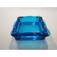 Blue Glass Square Mid Century Modern Ashtray
