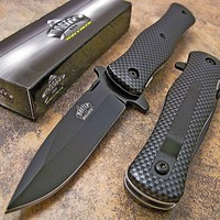"CARBON FIBER DURABLE 4"" POCKET KNIFE Blade Tactical Open NEW"