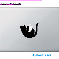 Cartoon Cat Hug the Logo Sticker for Macbook Skin Air 11 13 Pro 13 15 17Retina for Apple Laptop Computer Decal Creative Vinyl