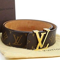 Inseva LV LOUIS VUITTONMEN GENUINE LEATHER BELT M9807/9808 BELTS Coffee LV print