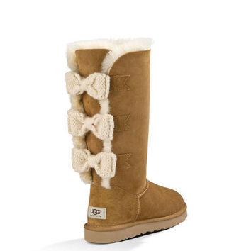 UGG TALL BAILEY KNIT BOW BOOTS IN CHESTNUT