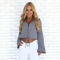 Enticing Button Up Blouse In Slate Grey