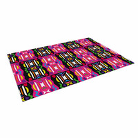 "Miranda Mol ""Lets Party"" Pink Black Indoor / Outdoor Floor Mat"